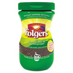 Folgers Instant Coffee Crystals, Decaf, 8oz Jar