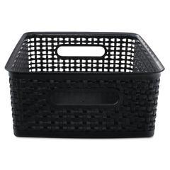 Advantus Weave Bins, 13 7/8 x 10 1/2 x 4 3/4, Plastic, Black, 2 Bins