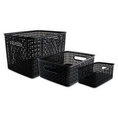 Weave Bins, Assorted, Plastic, Black, 3 Bins