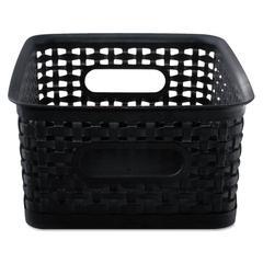 Weave Bins, 9 7/8 x 7 3/8 x 4, Plastic, Black, 3 Bins
