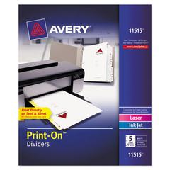 Avery Customizable Print-On Dividers, 5-Tab, Letter, 5 Sets