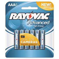 Rayovac Alkaline High Energy Batteries, AAA, 6/Pk