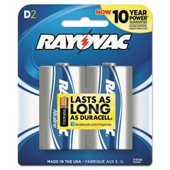 Rayovac High Energy Premium Alkaline Battery, D, 2/Pack