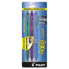 Pilot FriXion Clicker Erasable Gel Ink Retractable Pen, Assorted Ink, .7mm, 3/Pack