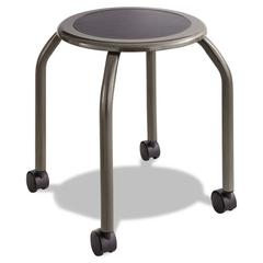Safco Diesel Series Industrial Stool, Stationary Padded Seat, Casters, Steel/Pewter