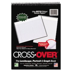 Roaring Spring Crossover Notebook, 8 1/2 x 11 1/2, 80 Pgs, White Sheets, Assorted Cover Colors