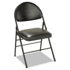 XL Folding Chairs, Vinyl Seat & Back, Black, 4/Carton