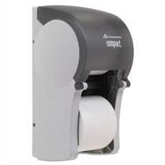 Vertical Double Roll Coreless Tissue Dispenser, 6 x 6 1/2 x 13 1/2, Smoke