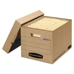 Bankers Box Filing Storage Box with Locking Lid, Letter/Legal, Kraft, 25/Carton