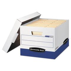 Bankers Box R-KIVE Max Storage Box, Letter/Legal, Locking Lid, White/Blue, 4/Carton