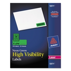 Avery High-Visibility Permanent ID Labels, Laser, 1 x 2 5/8, Neon Green, 750/Pack