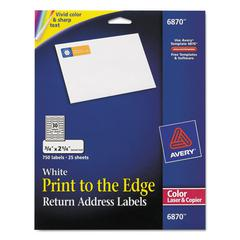 Avery Vibrant Color-Printing Return Address Labels, 3/4 x 2 1/4, White, 750/PK