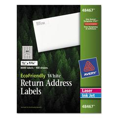 Avery EcoFriendly Laser/Inkjet Easy Peel Return Address Labels, .5 x 1.75, White, 8000