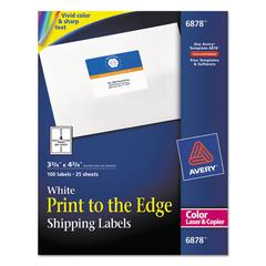 Vibrant Color-Printing Shipping Labels, 3 3/4 x 4 3/4, White, 100/Pack