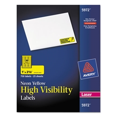 Avery High-Visibility Permanent ID Labels, Laser, 1 x 2 5/8, Neon Yellow, 750/Pack