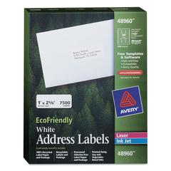 Avery EcoFriendly Laser/Inkjet Easy Peel Mailing Labels, 1 x 2 5/8, White, 7500/Pack