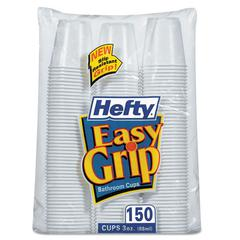Hefty Easy Grip Disposable Plastic Bathroom Cups, 3oz, White, 150/Pack