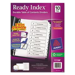 Avery Ready Index Customizable Table of Contents Black & White Dividers, 10-Tab, Ltr