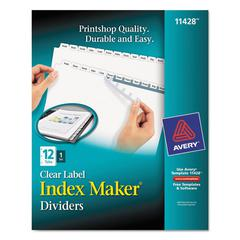 Avery Index Maker Print & Apply Clear Label Dividers w/White Tabs, 12-Tab, Letter