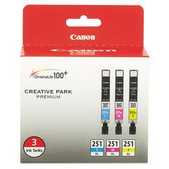 Canon 6449B009 (CLI-251XL) ChromaLife100+ High-Yield Ink, Cyan/Magenta/Yellow, 3/PK