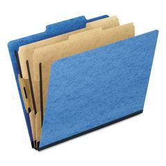Six-Section Colored Classification Folders, Letter, 2/5 Tab, Light Blue, 10/Box