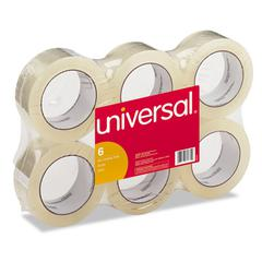 "Universal General-Purpose Box Sealing Tape, 48mm x 54.8m, 3"" Core, Clear, 6/Pack"