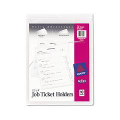 Job Ticket Holders, Heavy Gauge Vinyl, 9 x 12, Clear, 10/Pack