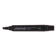 Universal Permanent Markers, Chisel Tip, Black, Dozen
