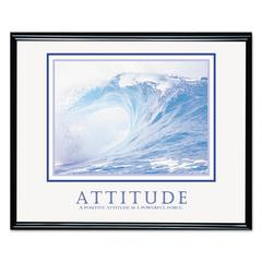 Advantus Attitude/Waves Framed Motivational Print, 30w x 24h