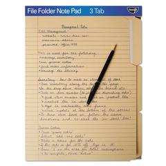 FindIt File Folders Notepad, 1/3 Cut, 11 Pt Stock, Letter, Manila