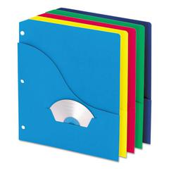 Pendaflex Wave Slash Pocket Project Folders, 3 Holes, Letter, Five Colors, 10/Pack