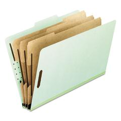 Eight-Section Pressboard Folders, Letter, 2/5 Tab, Green, 10/Box