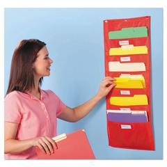 Educational Insights Storage Pocket Chart, 5 Pockets, Red, 14 x 32