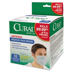 Curad Antiviral Medical Face Mask, Pleated, 10/Box