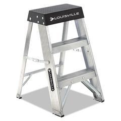 Aluminum Step Stool, 17w x 18 1/4 Spread x 26h, Aluminum/Black
