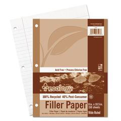 Pacon Ecology Filler Paper, 8 x 10-1/2, Wide Ruled, 3-Hole Punch, White, 150 Sheets/PK