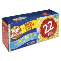 Pop Weaver Microwave Popcorn, Light Butter, 2.5oz Bag, 22/Box
