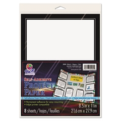 Self-Adhesive Project Paper, 8-1/2 x 11, White with Black Border, 8/Pack