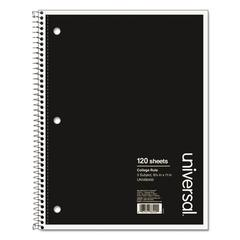 3 Sub. Wirebound Notebook, 11 x 8 1/2, College Rule, 120 Sheets, Black Cover