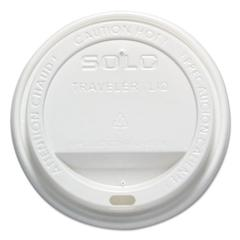 SOLO Cup Company Traveler Drink-Thru Lid, 12-16oz Hot Cups, White, 50/Pack, 6 Packs/Carton