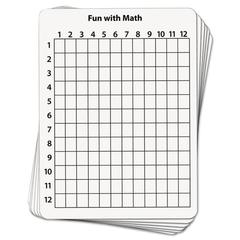 Math Dry Erase Whiteboard, 9 x 12, Grid, 10/Pack