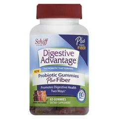 Probiotic Gummies Plus Fiber, Natural Fruit Flavors, 65 Count