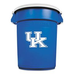 Rubbermaid Commercial Team Brute Round Container w/Lid, Univ. of Kentucky, 32 Gal, Plastic, Blue/White