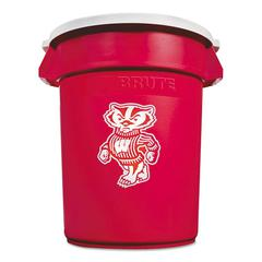Rubbermaid Commercial Team Brute Round Container w/Lid, Wisconsin Badgers, 32 Gal, Red/White