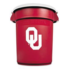 Rubbermaid Commercial Team Brute Round Container w/Lid, Univ. of Oklahoma, 32 Gal, Plastic, Red/White