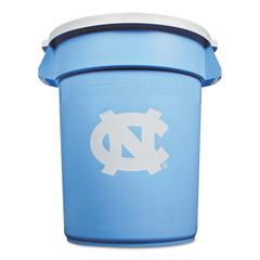 Rubbermaid Commercial Team Brute Round Container w/Lid, N. Carolina, 32 Gal, Plastic, Light Blue/White