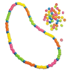 Creativity Street Pony Beads, Plastic, 6mm x 9mm, Assorted Neon Colors, 1000 Beads/Set