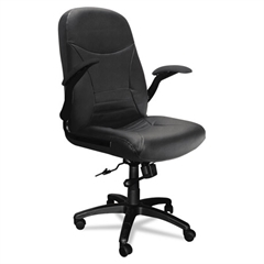 Mayline Big & Tall Series Executive Pivot-Arm Chair, Black Leather