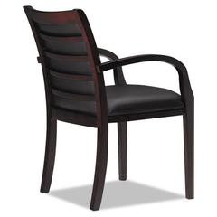 Mayline Mercado Series Ladder-Back Wood Guest Chair, Mahogany/Black Leather