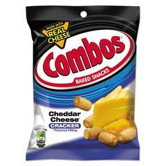 Combos Baked Snacks, 6.3 oz Bag, Cheddar Cheese Cracker, 12/Carton